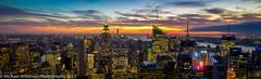 New York Skyline (mickwilkinsonphoto.com) Tags: city nyc newyorkcity sunset panorama newyork landscape lights cityscape nightscape pano panoramic bigapple topoftherock