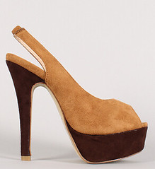 "faux suede colorblock slingback peep toe platform pump camel brown • <a style=""font-size:0.8em;"" href=""http://www.flickr.com/photos/64360322@N06/15108324053/"" target=""_blank"">View on Flickr</a>"