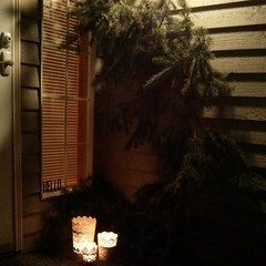Having way too much Fun Decorating w/ all the downed Branches in my Yard after the Windstorm. (Heath & the B.L.T. boys) Tags: christmas ikea home window diy branch candle entrance rental evergreen entryway porch pinecone entry instagram