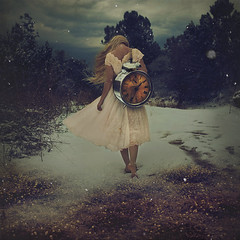 the gift of time (brookeshaden) Tags: inspiration selfportrait snow clock nature walking time newyear barefeet motivation snowing storytelling fineartphotography darkart whitedress conceptualphotography fairytalephotography brookeshaden