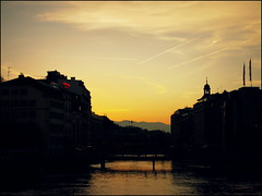 The Rhone, Lake Geneva, Switzerland (Wagsy Wheeler) Tags: sunset sun mountain mountains river switzerland suisse geneva geneve dusk lakegeneva rhone lacleman suiss