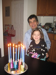 Lighting 8 candles with Daddy (Sim-tov) Tags: lighting winter friends portrait night fun chanukah dec noa menorah eighth 2014