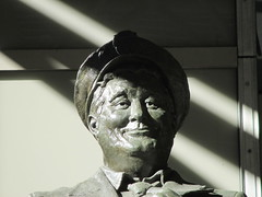 Ralph Kramden on a Sunny Day 3883 (Brechtbug) Tags: new york city winter holiday cold bus weather statue bronze port lunch is jackie uniform day authority january tie sunny front terminal an midtown his while chilly jolly gleason ralph stands drivers straightening pail clutching clad manhattans honeymooners 2015 kramden eightfoottall kramdon 01132015
