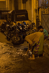 Teaching the Craft (TAZMPictures) Tags: india night chennai pongal bhogi kolam rangoli triplicane