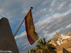 Sevilla (Luca Vega) Tags: espaa canon sevilla andaluca spain ciudad cielo bandera giralda g16 canong16