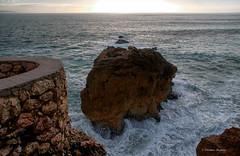 CMG_7619 (world's views) Tags: sunset sea beach portugal rocks infinity calm leiria nazare 2014