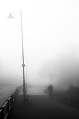 Man in the mist, Clifton, Bristol, Ian Wade (Disorganised Photographer - Ian Wade - Travel, Wil) Tags: morning urban blackandwhite white mist man black fog bristol walking ian wade wwwianwadephotographycouk