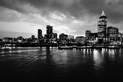 Gotham City (Nathan Danylchuk) Tags: bw water vancouver clouds reflections noir cityscape gotham waterfrontvancouver
