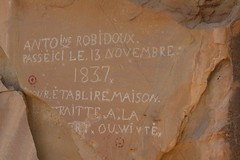 "Petroglyphs ""Antoine Robidoux 1837""; Book Cliffs Road 194, Book Cliffs, NW of Harely Dome, N of Moab, UT (Lon&Queta) Tags: usa utah flickr unitedstatesofamerica gps archeology petroglyphs 2013 camcanonrebelt3i"