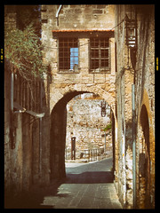 Vintage Greece (amber654) Tags: street door bridge building history window architecture analog arch hellas greece effect oldtown rhodes rodhos nikanalogefex