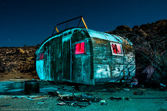 Prospector's Camp (dejavue.us) Tags: california longexposure nightphotography lightpainting abandoned nikon desert fullmoon trailer nikkor mojavedesert d800 1835mmf3545d vle