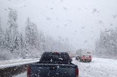 """Winter conditions on the Coquihalla (""""Highway Thru Hell"""") (peggyhr) Tags: snow canada mountains wet bc icy slippery iphone 25faves peggyhr highwaythruhell coquihallaahighway"""
