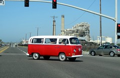 California Dreaming (frankieleon) Tags: road travel light vw volkswagen interestingness interesting bestof roadtrip cc transportation creativecommons intersection popular redlight vwbus hippievan frankieleon