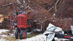 LONG RETIRED FARMALL (richie 59) Tags: winter usa snow ny tractor cold ice wet overgrown rain rural america outside us vines weeds unitedstates farm country brush grill faded newyorkstate raining countryroad nys farmall nystate frontend hudsonvalley oldtractor 2015 fadedpaint redtractor ulstercounty midhudsonvalley frezzing ulstercountyny 2010s townofesopus townofesopusny jan2015 westesopusny westesopus jan182015