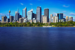 Sydney Blues (NorthFla) Tags: city longexposure water skyline sailboat boat towers sydney australia sydneyharbour leefilters farmerscove