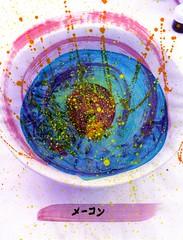 Ladybug Noodle Picnic [1,001 Sobas with Senpai #144] (Marc-Anthony Macon) Tags: art folkart outsiderart surrealism egg eggs noodles soba dada japanesefood erasure dadaism japanesecooking senpai erasurism