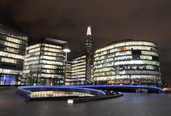 The Scoop and The Shard (Jez B) Tags: windows reflection london water thames night river lights office long exposure shoot more block shard scoop morelondon the