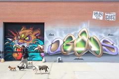lovepusher dogwalker (Luna Park) Tags: nyc ny newyork brooklyn graffiti mural jesus cost production lunapark dogwalker lovepusher enx costkrt