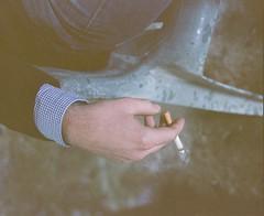 Rainy day comfort (the fencepost) Tags: color 120 mamiya film oregon mediumformat portland kodak cigarette smoke portra400nc rz67 c41 portra400 kodakportra