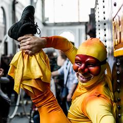 The flexible man (hector_cbs) Tags: street portrait people man costume artist circus flexible streephotography
