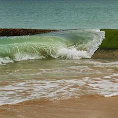 The Atlantic loves the color green ... (Robert Schller) Tags: france de ile wave coastal impact re protection