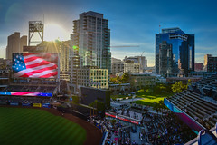 Sunset at Petco Park San Diego CA (mbell1975) Tags: california park ca city sunset usa field skyline america major us san unitedstates sandiego baseball stadium diego calif arena cal american league petco cityskyline mlb majorleague