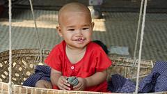 (Kelly Rene) Tags: travel people baby money male home southeastasia child burma frame myanmar mm dailylife cradle indochina nyaungu minnanthu myanmarburma kyat mandalayregion
