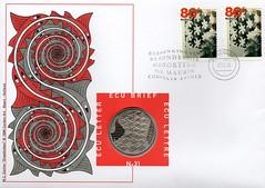 M.C. ESCHER (streamer020nl) Tags: coin stamps 1998 escher mce mcescher ecu draaikolken ringslangen ecubrief eculetter