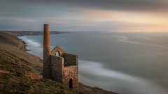 Poldark Country (www.stevengreenphotogallery.com) Tags: uk longexposure sea chimney england cliff seascape building brick architecture landscape tin mine cornwall industrial waves stack historic le gb coates wheal enginehouse poldark