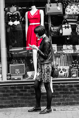Red dress (judethedude73) Tags: life city white black fashion brighton candid streetphotography shops lanes peoplephotography