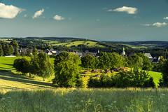 Pile of Wood near Wolkenstein (redfurwolf) Tags: wood light sky sun mountains clouds germany landscape europe saxony pile gras wolkenstein oremountains sonyalpha redfurwolf