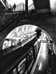 End of the line. (mark.lief) Tags: people paris france apple train subway metro platform bnw iphone shotoniphone