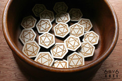 6by6Arts_d20pins1 (thea superstarr) Tags: dungeonsanddragons icosahedron dnd d20 madeinusa lasercut laserengraved 6by6arts