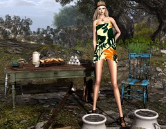 Weekend Breakfast (Jamee Sandalwood - Miss V SWEDEN 2015) Tags: summer hat outside outdoors photography model photographer 500v20f weekend sl secondlife pixel blonde casual chic couture evolve artphotography slfashion fashionartphotography