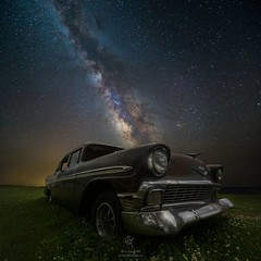 Stardust and Rust by @HomeGroenPhotography (HomeGroenPhotography) Tags: instagramapp square squareformat uploaded:by=instagram milkyway milkywaystars universe abandoned oldcar 56chevy chevy space cosmos galacticcenter southdakota