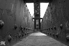 Engine Bridge Abstract (ryan.kole32) Tags: blackandwhite monochrome perspective pov depthoffield dof bridge structure black white light shadows abstract sony sonya77 canmore canmorealberta alberta canada canadianrockies rockies rockymountains travel outdoors metal
