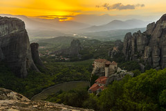 Meteora Sunset (UmitCukurel) Tags: meteora sunset greece mountain monastery nature landmark sony sonyalpha trikala thessaliastereaellada gr