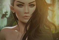 Andrea~The Elfen Forest... (Skip Staheli (Clientlist closed)) Tags: skipstaheli secondlife sl avatar virtualworld dreamy delindadench portrait elf forest closeup eyes fantasy digitalpainting andreadamone