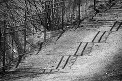 a climbing Bergen fence - HFF! (lunaryuna) Tags: norway bergen urbanconstructs path park fence lightshadow shadow seeingdouble blackwhite bw monochrome diagonal hff fencefriday walkinthecity lunaryuna