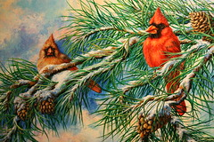 """Cardinals in the pine (sherrylpaintz) Tags: ooak sherrylpaintz artist """"wildlife artist"""" acrylicpainting """"hand painted"""" painting original realism realistic wildlife """"folk art"""" nature natural floral chic """"shabby chic"""" whimsical colorful décor decorative """"decorative design primitive """"primitive folk treasures romantic custom style """"decorating style"""" victorian majestic patina country """"wall woodland cardinal redbirds femalecardinal malecardinal pinetree pinecones snow branches pineneedles sky clouds birdhouse birdhousepainting northerncardinal northerncardinalpainting"""