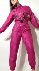 54546565 (onesieworld) Tags: ski sexy girl fashion fetish vintage one shiny suit 80s piece mistress nylon catsuit vixen snowsuit kink