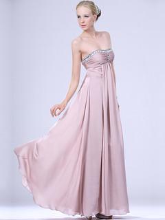 Rhinestone Detailed Empire Flowing Chiffon Evening Dress
