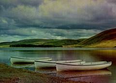 Boats-textured (alangraham24) Tags: water reflections boats hills dockbay thriepmuir