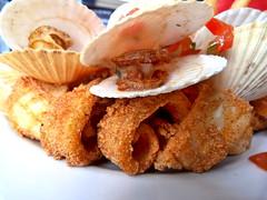 Feasting to celebrate the coming of summer (Sandy Austin) Tags: newzealand food auckland squid northshore northisland scallop calamari seafoodplatter northcotetavern northcotepoint sandyaustin panasoniclumixdmcfz40