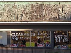 99p frieze (davocano) Tags: typo shopfront incongruous bracknell poundshop 99pshop urbancontrast crosswayhouse bracknellregeneration stagheadmural crosswayhousebracknell stagheadbracknell