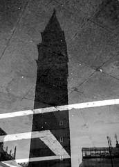 Campanile (~ Darkscapes ~) Tags: venice bw italy reflection italia campanile piazza venezia piazzasanmarco stmarkssquare artinbw weststreetphotography
