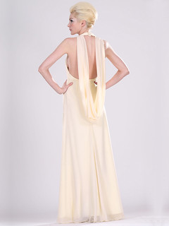Column Style Halter Floor Length Evening Dress with Center Front Jewelry