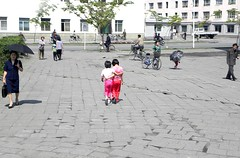 People in Wonsan, North Korea (Todd Mecklem) Tags: street pink girls red color colors kids walking children kid north korea korean northkorea dprk northkorean