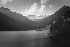Mountain II (Gzooh) Tags: travel mountain lake france film 35mm landscape blackwhite peaceful grayscale minoltasrt101 pyrnes provia400x