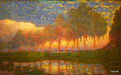 Piet Mondriaan 1872-1944 Row of eleven poplars in red yellow, blue and green (Hengelo Henk) Tags: art rain paintings zwolle defundatie